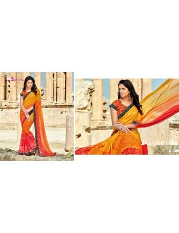 Designer Orange Printed Saree