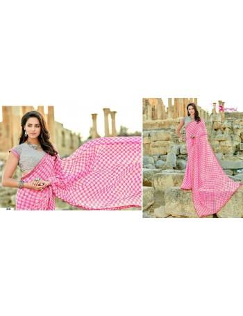 Designer Modern Pink Printed Saree