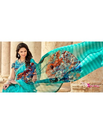 Designer Teal Printed Saree