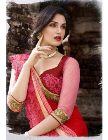 Designer Red Saree with elegant lace work (Immediate Dispatch!)