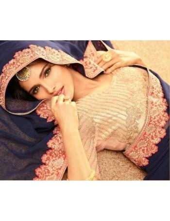 Designer Navy Blue & Hot Pink Saree (Immediate Dispatch!)