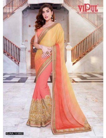 Designer Yellow & Orange Shaded Saree (Immediate Dispatch!)