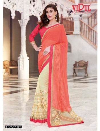Designer Orange & Red Saree with embroidery work (Immediate Dispatch!)