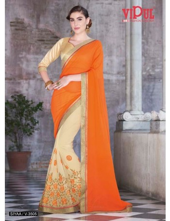 Designer Orange and Gold embroidered Saree (Immediate Dispatch!)