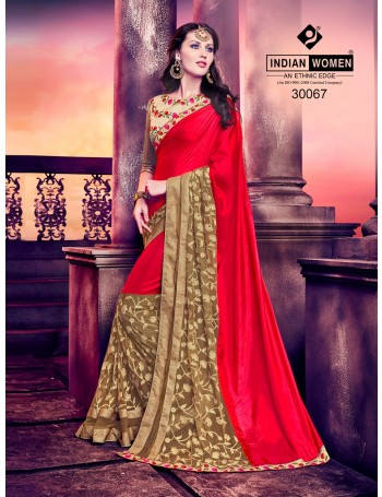 Designer Shimmer Red and Gold  Embroidered Saree (Immediate Dispatch!)