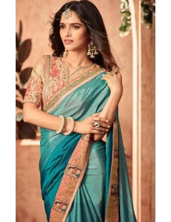Designer Blue Saree (Immediate Dispatch!)