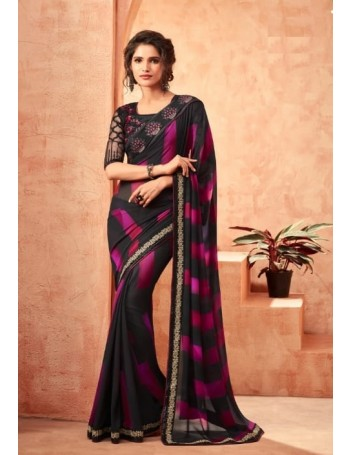 Designer Black & Purple Saree (Immediate Dispatch!)