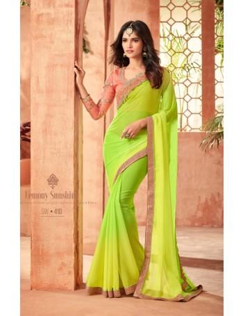 Designer Yellow & Light Green Saree (Immediate Dispatch!)