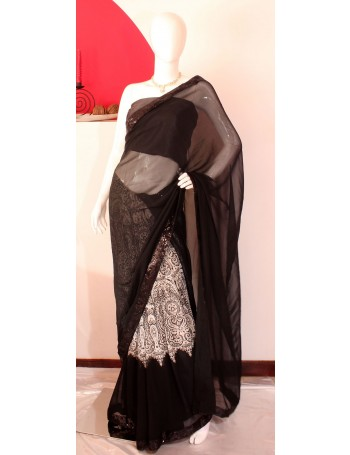 Elegant Black & White Saree