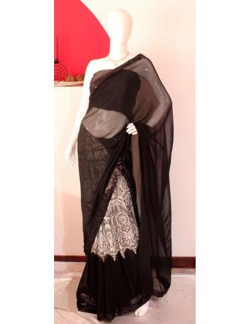 Elegant Black & White Saree