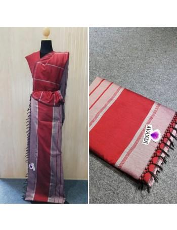 PolyCotton Maroon handloom sari