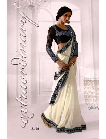 Designer Cocktail White with Blue-Grey work saree