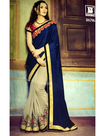 Designer Navy Blue & Ash Saree with Elegant Embroidery work (Immediate Dispatch!)