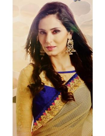 Designer Hot Pink Saree with Gold Fall