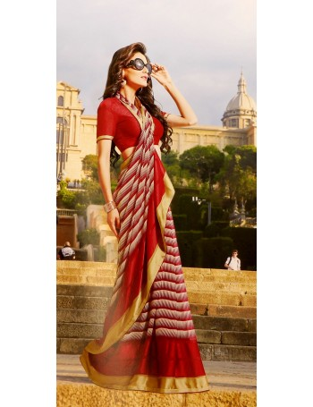 Designer Maroon Red Saree with gold border (Immediate Dispatch!)