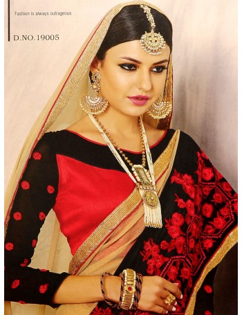 Designer Beige Saree with Black & Red Embroidered border