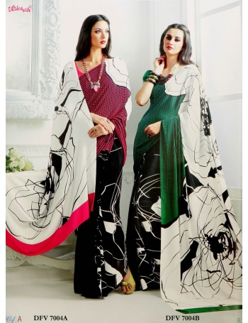 Modern Black & White Saree with touch of magenta