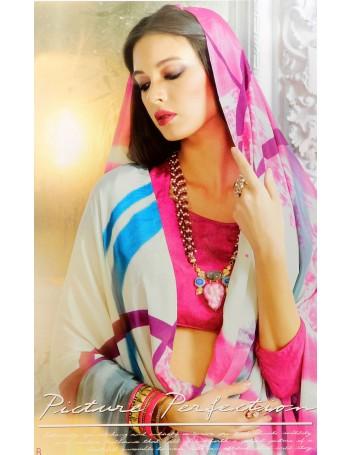 Ultra modern Grey saree with magenta