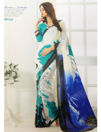 Modern White & Teal Printed saree
