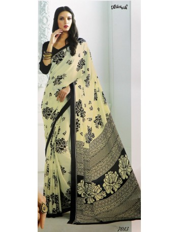 Designer Off White Saree with Black Floral Prints