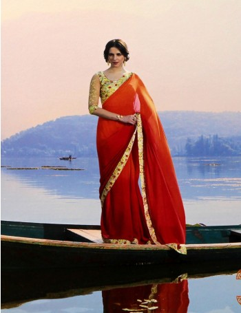 Designer Shaded Orange Saree