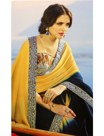 Designer light yellow & gark blue shaded saree