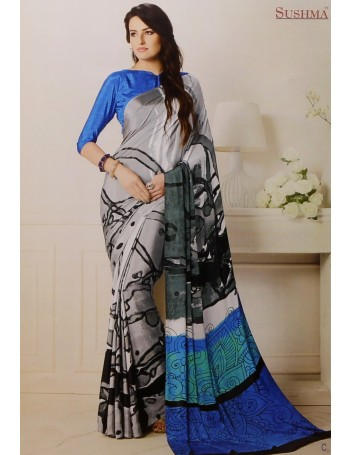 Designer Modern Blue & Grey Printed Saree