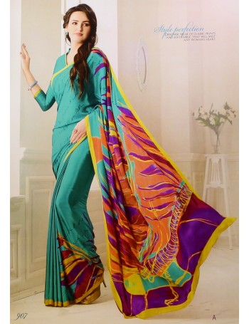 Designer Modern Prints Teal & Fire Saree