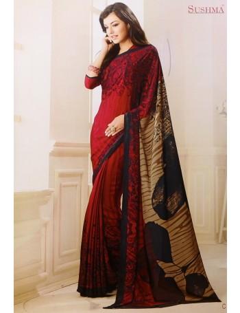 Designer Modern Prints Red & Gold Saree