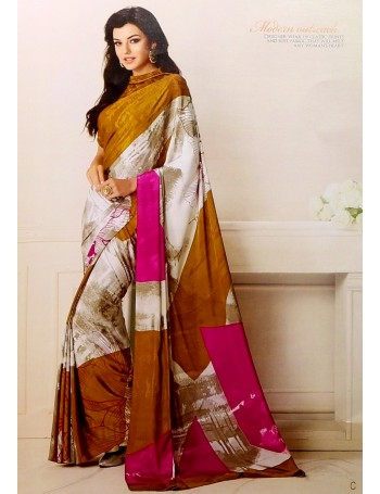 Designer Modern Printed Gold & White Saree
