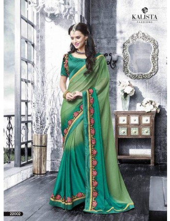 Designer Lime Green Shaded Saree with charming embroidery work (Immediate Dispatch!)