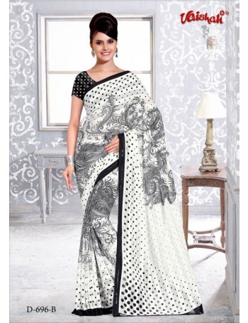 Modern Black & White Saree with Polka dots