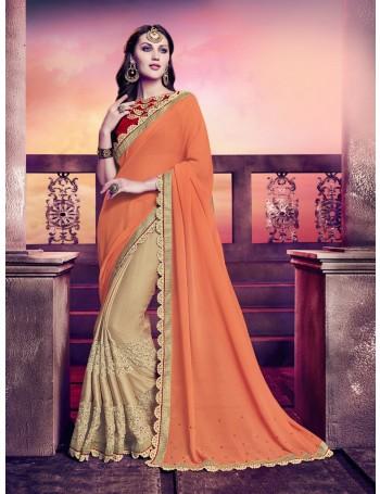 Designer Orange Gold Saree with designer jacket (Immediate Dispatch!)