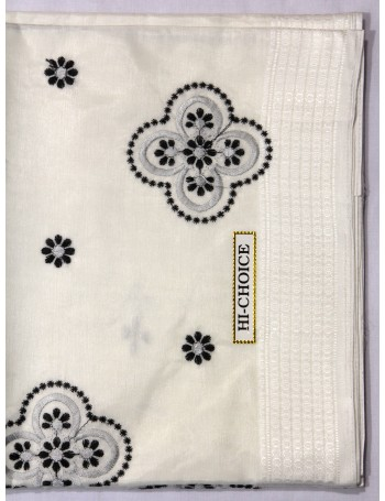 White Saree with Charming Grey Black Floral Design