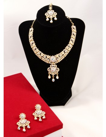 Elegant Bridal Jewellery Set with rainbow stones