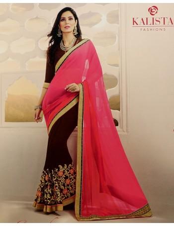 Designer Salmon Pink & brown Saree