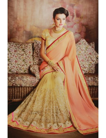 Designer Light Orange & Gold Embroidered Saree (Immediate Dispatch!)