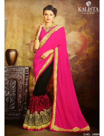 Designer Fuchsia Red & Black Embroidered Saree (Immediate Dispatch!)