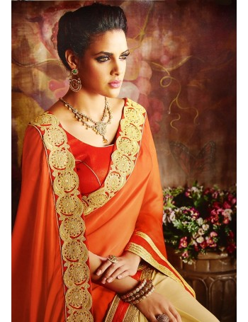 Designer Deep Orange & Gold Embroidered Saree (Immediate Dispatch!)