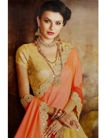Designer Standout Orange & Gold Saree (Immediate Dispatch!)