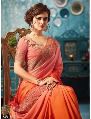 Designer Deep Orange Saree with Designer Jacket (Immediate Shipping!)