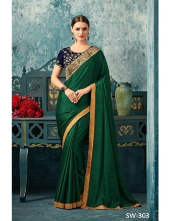Designer Green Saree with Designer Jacket (Immediate Shipping!)
