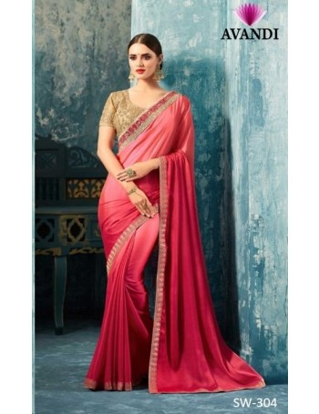 Designer Hot Pink Saree with Designer Jacket (Immediate Shipping!)