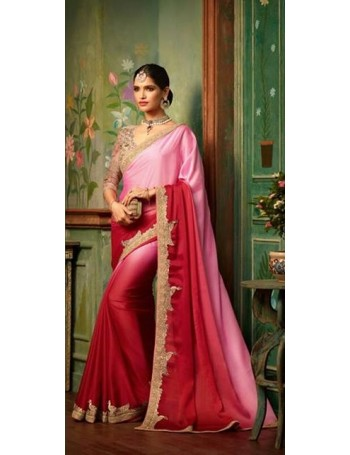 Designer Pink Saree with Designer Jacket (Immediate Shipping)
