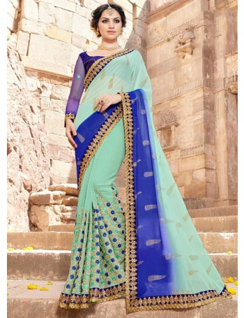 Designer Blue & Light Green embroidered Saree (Immediate Dispatch!)