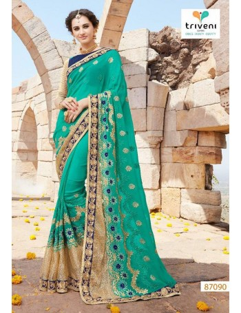 Designer Lush Green & Gold Embroidered Saree (Immediate Dispatch!)