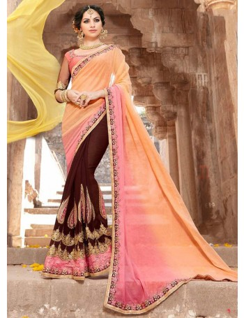 Designer Salmon Pink Shaded Saree with Classy Embroidery work (Immediate Dispatch!)