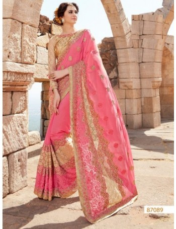 Designer Pink & Gold Saree with Elegant embroidery & lace work (Immediate Dispatch!)