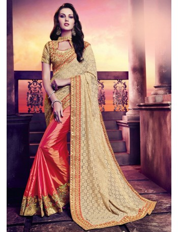 Designer Shimmer Orange with Gold Lace worked fall Saree (Immediate Dispatch!)