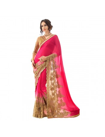 Designer Pink & Gold Saree with Elegant embroidery work